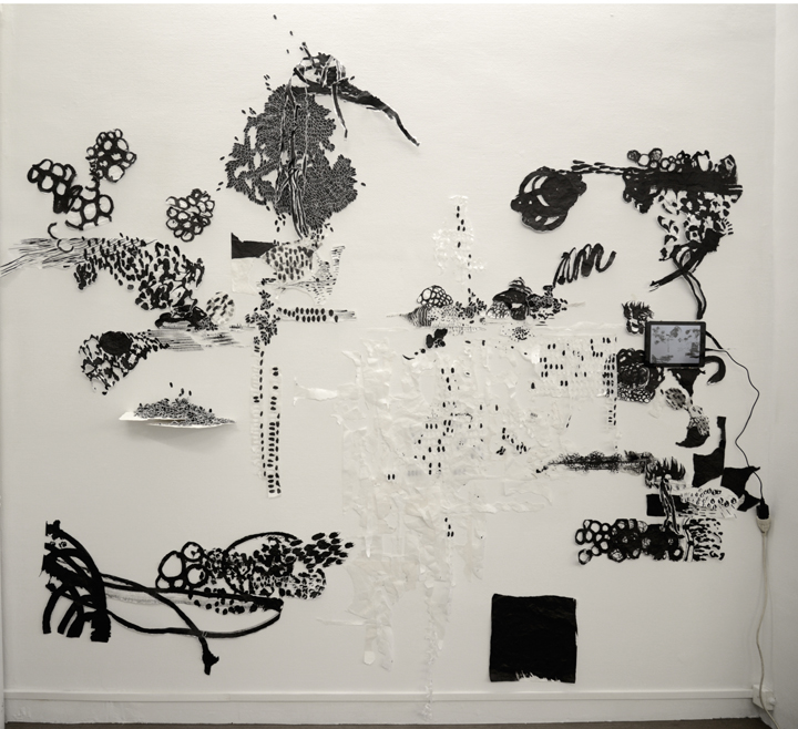 Sans titre, Wall drawing, encre de chine, papiers déchirés, scotch, épingles. dimension environ 2 x 3 m